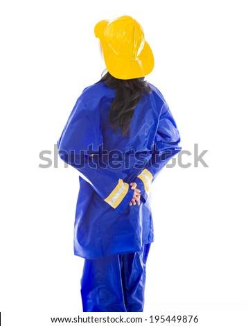 werknemer · achteraanzicht · permanente · garage · pak - stockfoto © bmonteny