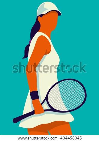 Vrouw tennisspeler poster gekleurd sport server Stockfoto © leonido
