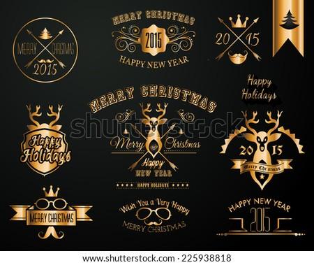 2015 Christmas Gold decorations set of calligraphic and typographic designs Stock photo © DavidArts