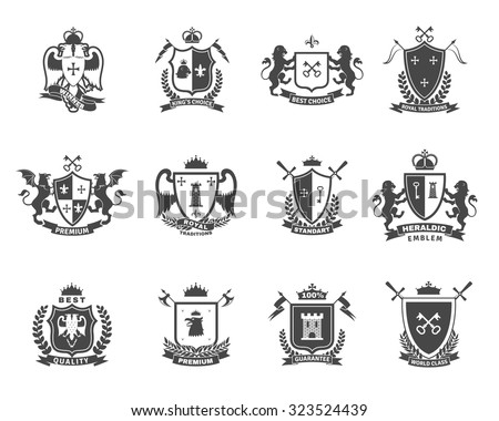 coat of arms. vector illustration with shield, swords and crown.  Stock photo © maximmmmum