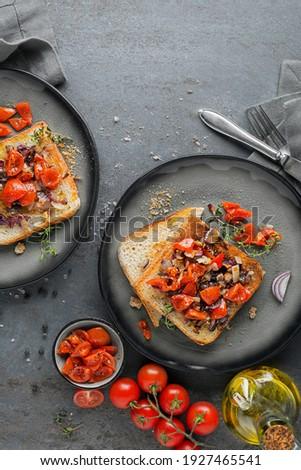 A la parrilla cebolla servido frescos albahaca vintage Foto stock © dariazu