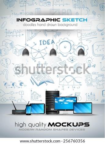 Stock fotó: Modern · eszközök · vázlat · grafikonok · kézzel · rajzolt · infografika