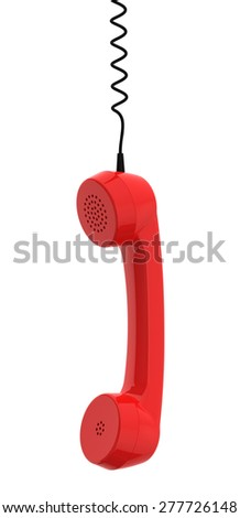 Red Retro Business Telephone Receiver Hangs by its Cord on White Background stock photo © maxpro