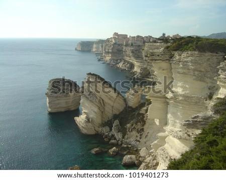Korzika fehér sziklák fölött ősi város Stock fotó © Joningall