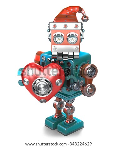 retro santa robot with mechanical heart isolated contains clipping path stock photo © kirill_m