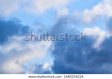 Landschap atmosfeer pluizig witte wolken blauwe hemel Stockfoto © smeagorl