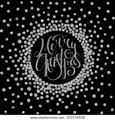 Silver textured handwritten calligraphic inscription Merry Christmas inscribed in a circle. Design e Stock photo © rommeo79