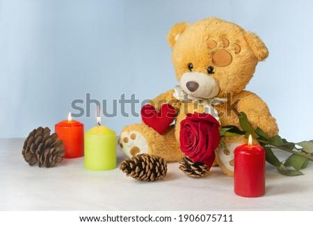 tarjeta · de · felicitación · corazón · aumentó · azul · boda · signo - foto stock © orensila