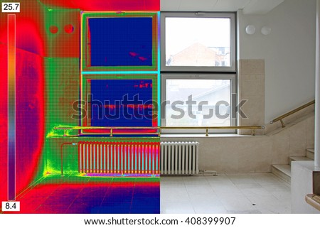 Recording Radiator and a window on a building with Thermal Camer Stock photo © smuki