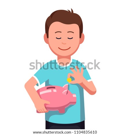 Teenage boy with piggy money box Stock photo © simply