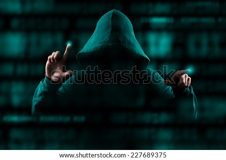 Hooded computer hacker hacking biometric security internet syste Stock photo © stevanovicigor