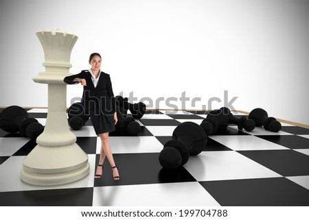 Pretty brunette standing on a chessboard Stock photo © konradbak