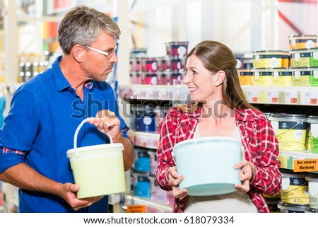 Couple in hardware store arguing about color of paint for renova Stock photo © Kzenon
