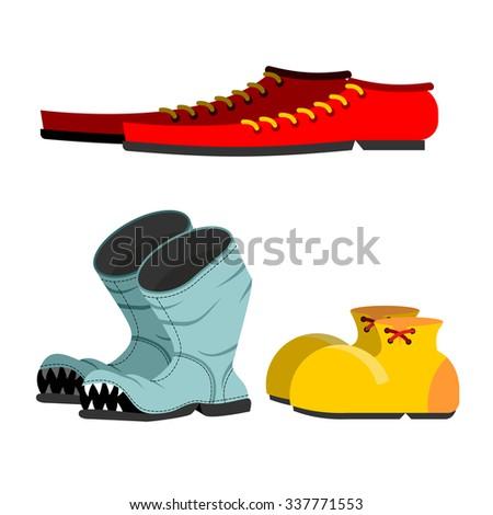 Foto stock: Sapatos · conjunto · velho · quebrado · botas · homens