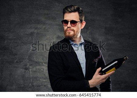 Young businessman in sunglasses holding beer bottle and smoking cigarette Stock photo © deandrobot