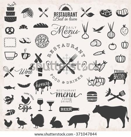 Set of seafood silhouettes. Design elements for label, logo, emblem, badge, sign. Marine life. Set o Stock photo © khabarushka