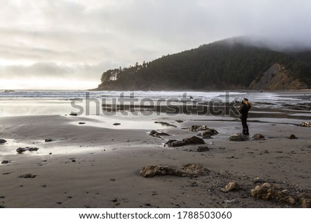 Woman enjoying the view of the Pacific Ocean in Southern Califor Stock photo © tab62