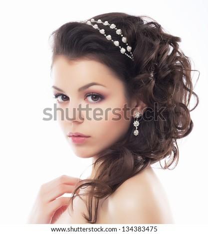 Gyönyörű barna hajú menyasszony esküvő portré göndör haj Stock fotó © Victoria_Andreas