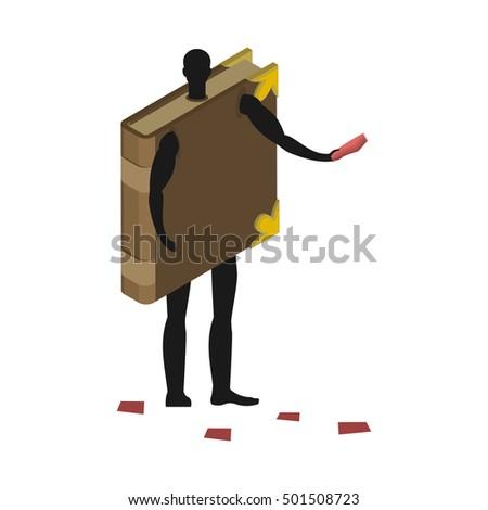 Książki kostium człowiek maskotka mężczyzna garnitur Zdjęcia stock © MaryValery