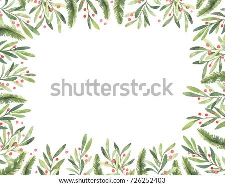 karácsony · keret · vízfesték · kézzel · rajzolt · illusztráció · karácsony - stock fotó © TrishaMcmillan
