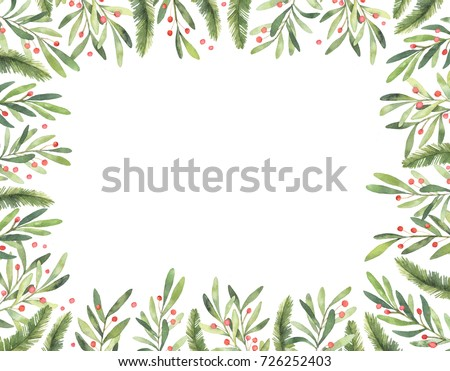 christmas frame watercolor hand drawn illustration xmas greeting card stock photo © trishamcmillan