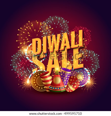 amazing diwali sale voucher with festival crackers and fireworks stock photo © sarts
