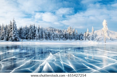 Krajobraz śniegu góry niebieski jezioro trawy Zdjęcia stock © bbbar