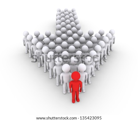 3d White People And Red Man Leadership Leadership And Team Work Photo stock © 6kor3dos
