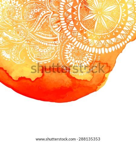 Arancione acquerello pennello lavare pattern doodle Foto d'archivio © fresh_5265954