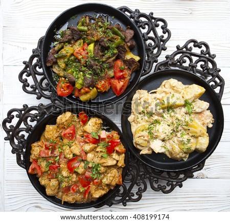 Tre caldo gustoso alimentare bianco legno Foto d'archivio © Yatsenko