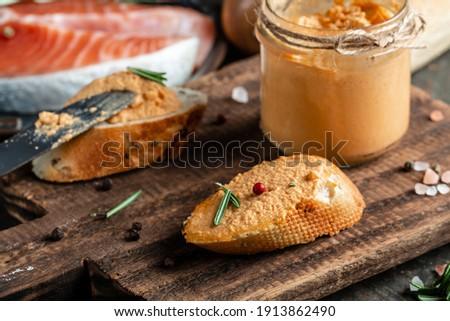 Smoked chicken and soft cheese spread, mousse, pate in a jar wit Stock photo © Yatsenko