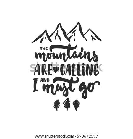 Montanas llamando dibujado a mano anunciante negocios forestales Foto stock © masay256
