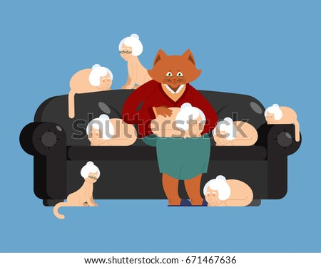 Cat and grandmother in parallel universe. Big pet and old woman. Stock photo © popaukropa
