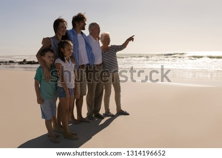 Girl with her grandfather pointing at a distance in the forest Stock photo © wavebreak_media