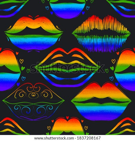 LGBT seamless pattern. Lesbians kissing background. Gay ornament Stock photo © MaryValery