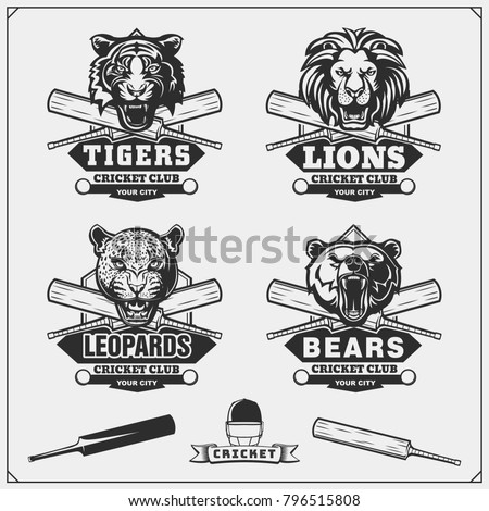 Cricket club emblem and design elements. team logo . stamp. Sports fun symbols with equipment - bats Stock photo © JeksonGraphics