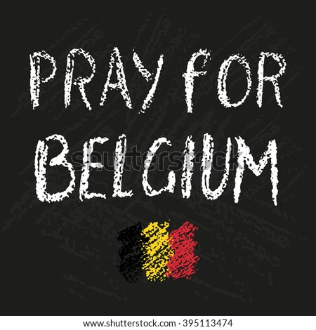 Pray for Brussels lettering with black heart. Tribute to victims of terrorism attack in Brussels air Stock photo © JeksonGraphics