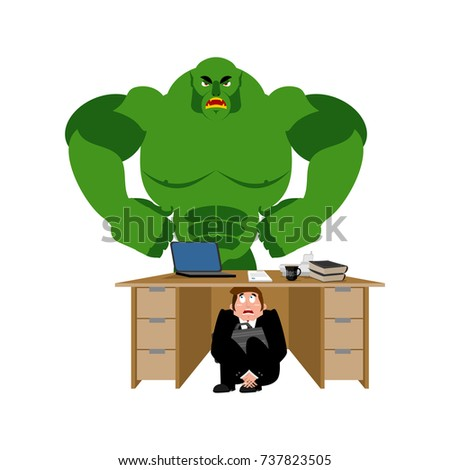 businessman scared under table of green monster vector illustra stock photo © popaukropa