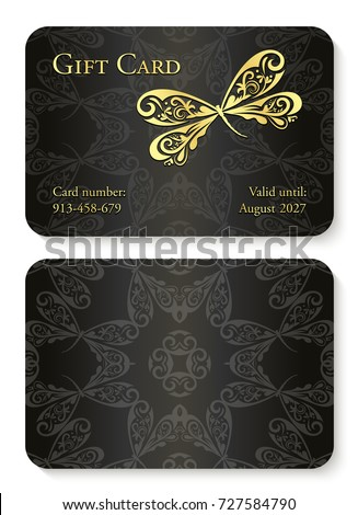 Luxury violet gift card with dragonfly ornament. Front side with golden embossed relief, back side w Stock photo © liliwhite