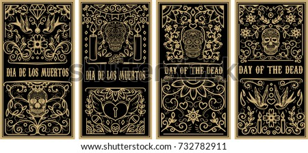 Day of the Dead template greeting card. Mexican Holiday Dia de Muertos. Set of Skull and burning Can Stock photo © orensila