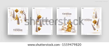merry christmas typography illustration with 3d holiday element and long shadow on shiny red backgro stock photo © articular