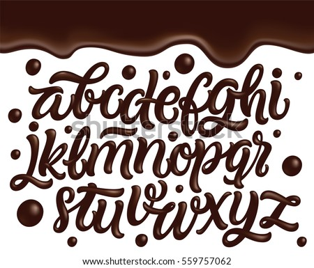 Chocolate font. sweetness alphabet. Liquid lettering. Sweet visc Stock photo © MaryValery