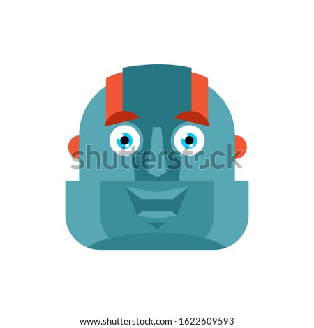 Robot happy emoji. Cyborg merry emotions. Robotic man Joyful. Ve Stock photo © popaukropa