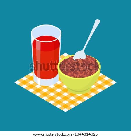 Red rice Porridge and fruit juice. Breakfast Healthy food. Vecto Stock photo © MaryValery