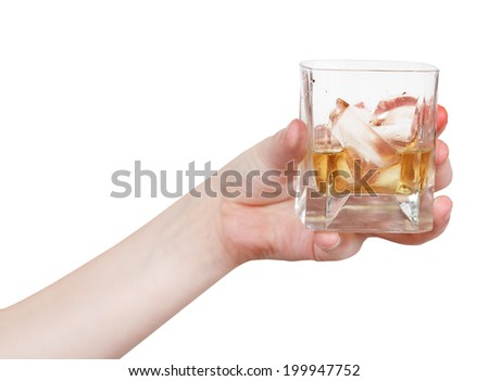 Hand holding whiskey and ice. Fingers and glass of scotch. Drink Stock photo © popaukropa