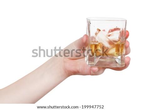primo · piano · whiskey · shot · ghiaccio · vetro · sfondo - foto d'archivio © popaukropa
