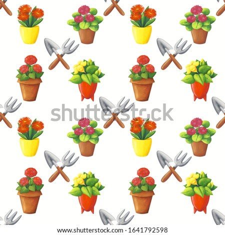 Flower in pot seamless pattern. Homemade plant red flower textur Stock photo © popaukropa