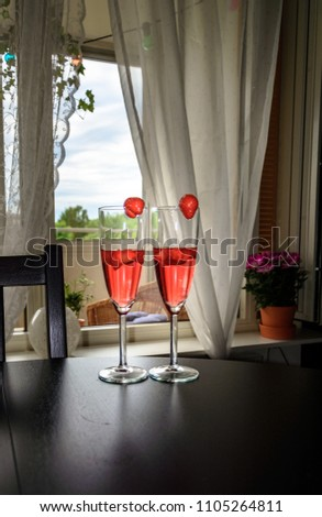Champagne, white, rose and red wins and drinks in glasses on stained glass background Stock photo © FreeProd