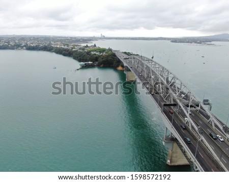 Brug zee zeilschip New Zealand stad Stockfoto © daboost