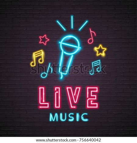 music illustration with musical note lighting signboard on brick wall background vector design for stock photo © articular